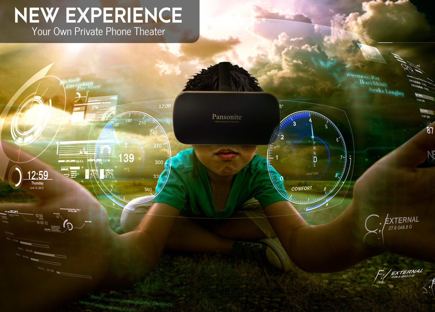 Pansonite 3D VR Glasses Virtual Reality Headset for Games & 3D Movies, Upgraded & Lightweight with Adjustable Pupil and Object Distance for IOS and Android Smartphone by Pansonite (Image #8)