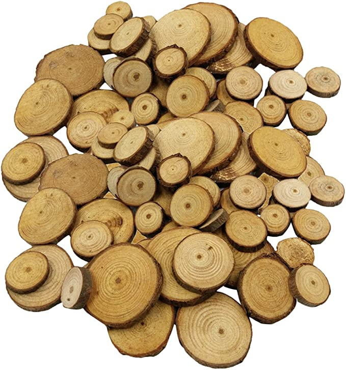 100x Pine Wood Slices Round Disc Tree Bark Wooden Circles Tool F3A9 DIY M3N8