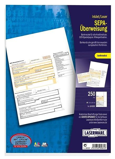 Laserware SEPA Software Überweisungsformular Überweisungsträger Bankformular