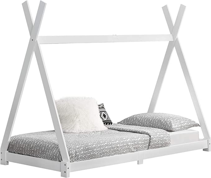 [en.casa] Cama para niños de Madera Pino Höri 90 x 200cm Cama Infantil Estructura Tipi con Somier Blanco Lacado Mate