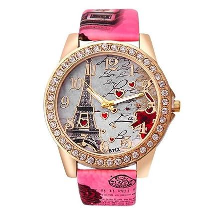Hotsale! Wensltd Classy Tower Pattern Leather Band Analog Quartz Vogue Wrist Watch (Pink)