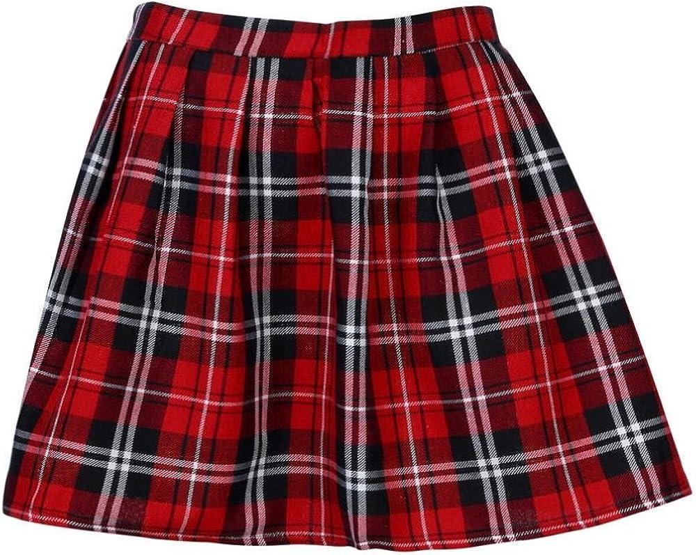 Logobeing Mujer Falda Corta con Pliegues, Mini Falda Mujer Plisada Escocesa Elegante Alta Cinturilla Colegiala Uniforme Escolar Plisado Falda Algodón Tartán
