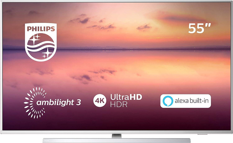 Philips 55PUS6814, Smart TV Alexa Ultra HD (Ambilight 3 Lados, HDR 10+, Dolby Vision + Atmos, 1200 PPI, Sintonizador Satélite, Peana Central Giratoria), Wireless/HDMI/USB, 55