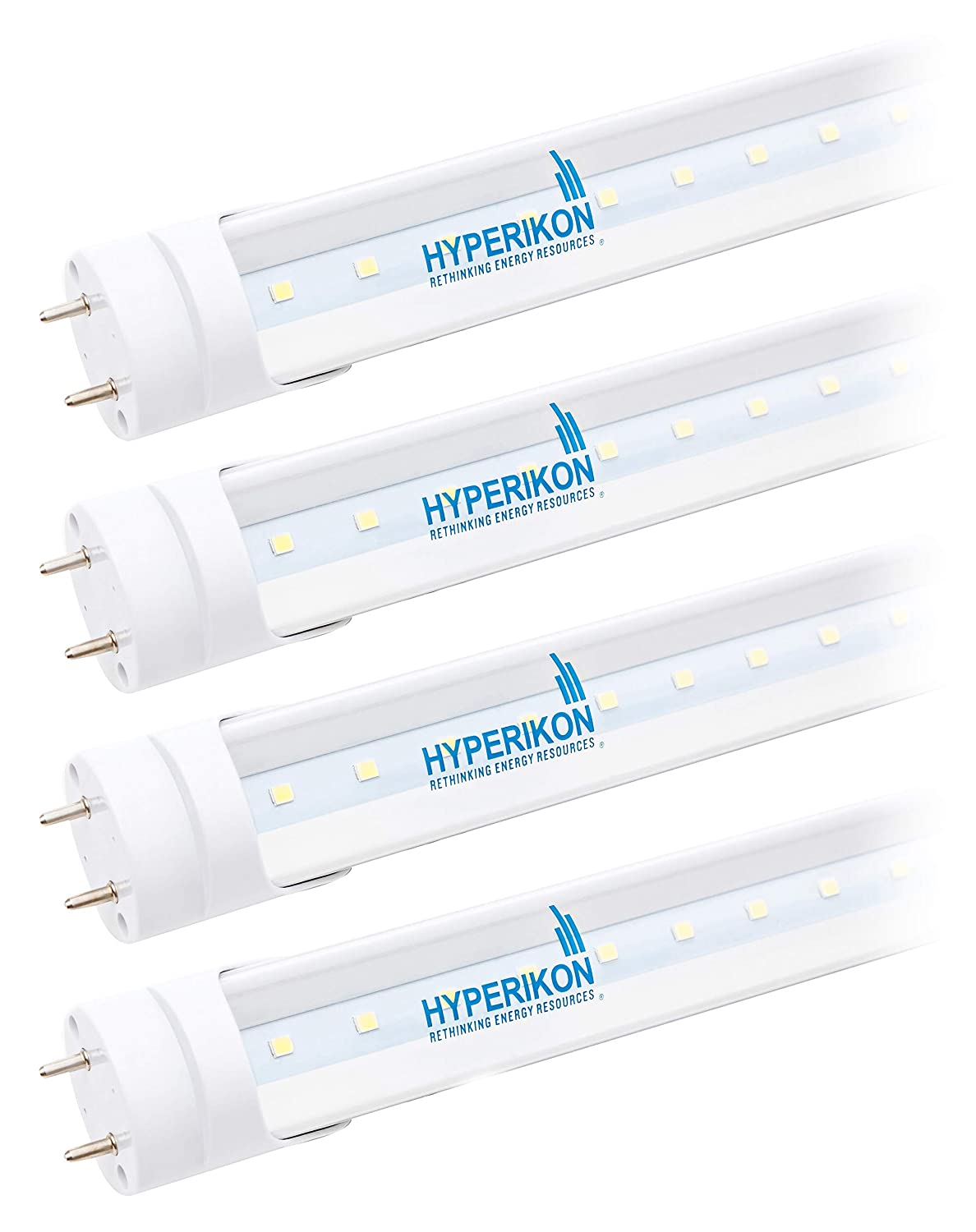 Hyperikon T8 T10 T12 2ft LED Bulbs, Fluorescent Replacement Tube, Dual-End Powered, 8W (25W Equiv.), 4000K, Clear, 1150 Lumens, Shatterproof, Shop Light for Kitchen, Garage, Warehouse - Pack of 4