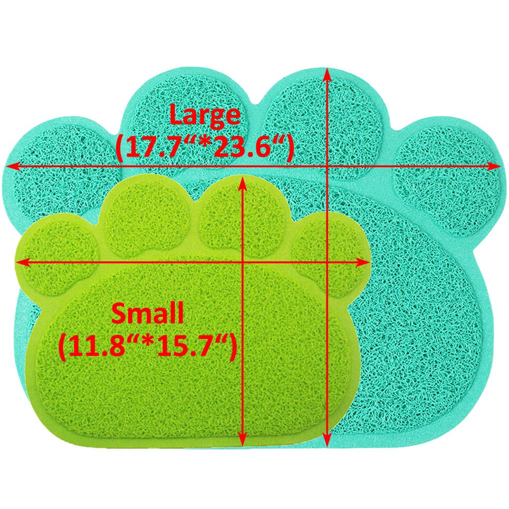 JOYJULY PVC Pet Dog Cat Puppy Kitten Dish Bowl Food Water Feeding Placemat, Non-slip Cat Litter Mat Paw Shape, Blue Large by JOYJULY (Image #3)