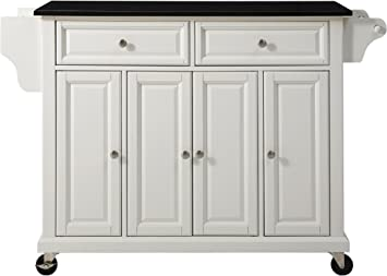 Crosley Furniture Rolling Kitchen Island with Solid Black Granite Top, White