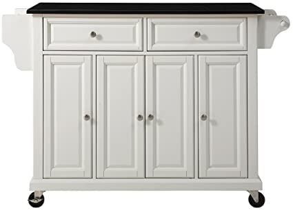 Genial Crosley Furniture Rolling Kitchen Island With Solid Black Granite Top    White