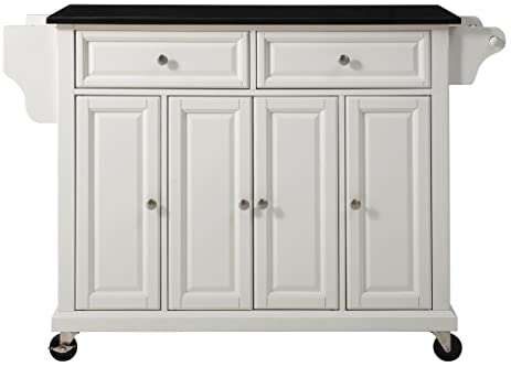 Crosley Furniture Rolling Kitchen Island With Solid Black Granite Top    White