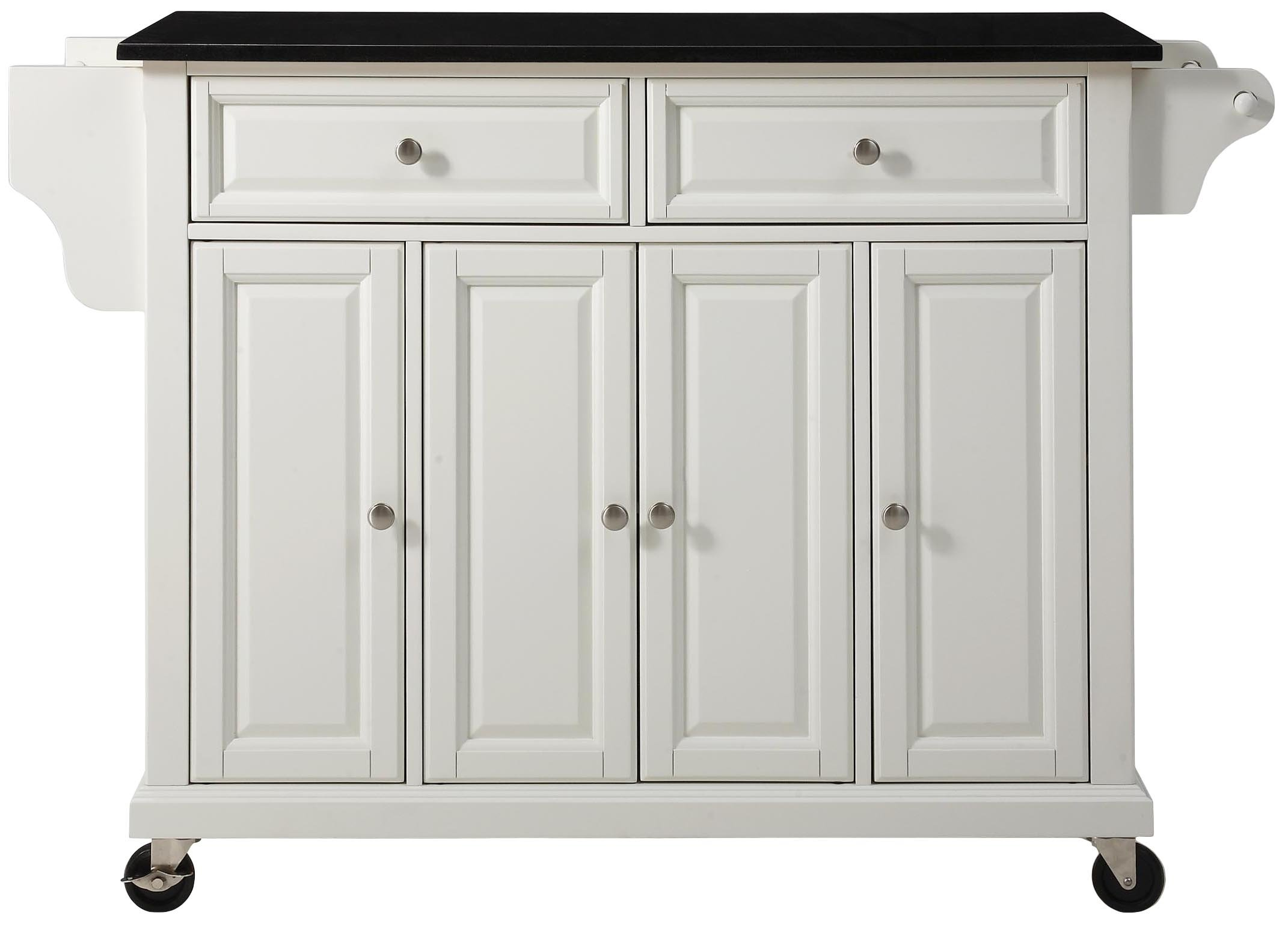 Crosley Furniture Rolling Kitchen Island with Solid Black Granite Top - White