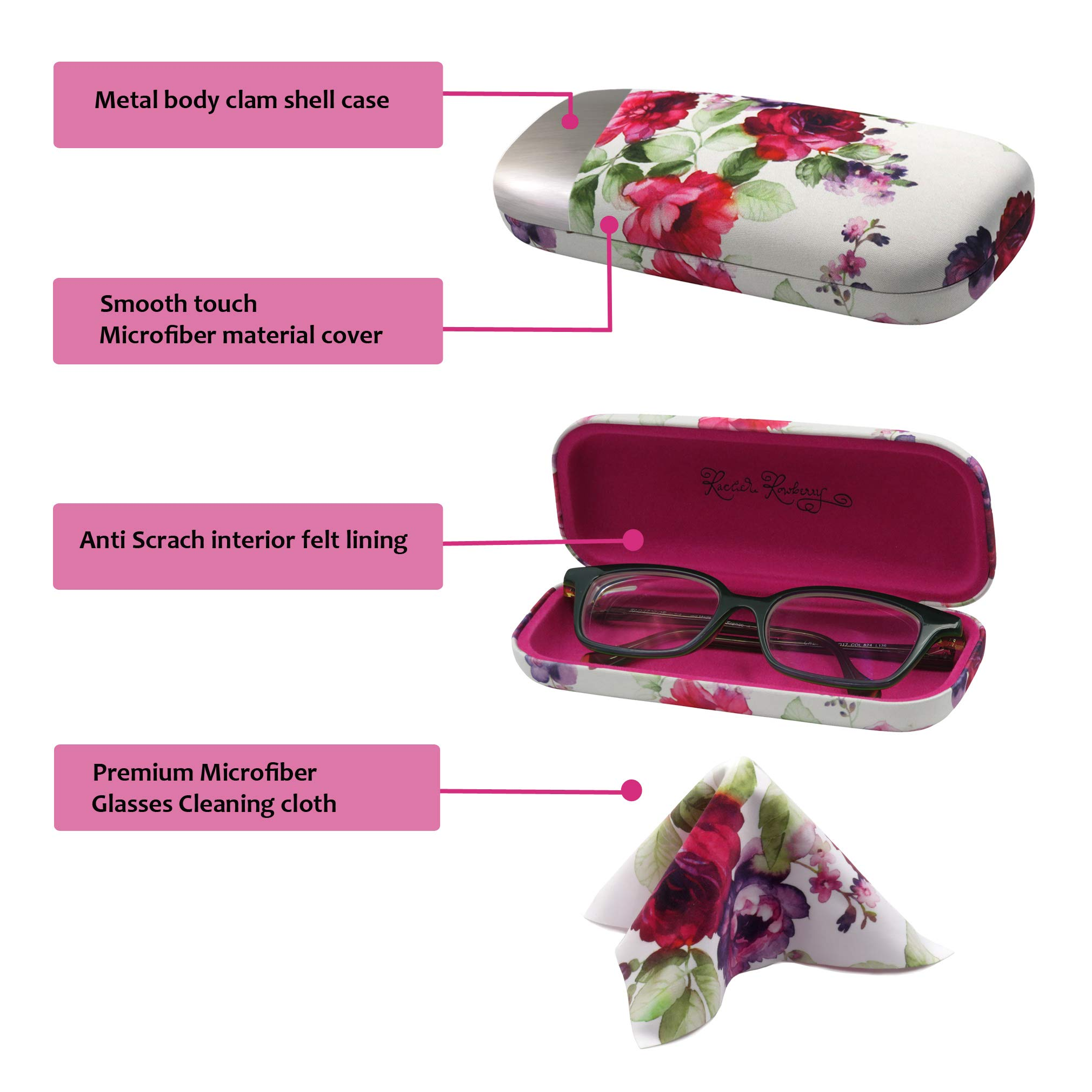 Floral Hard Shell Eyeglass Case for women Medium Sunglasses case with Cleaning Cloth by Rachel Rowberry (AS126 Cranberry Rose) by MyEyeglassCase (Image #2)