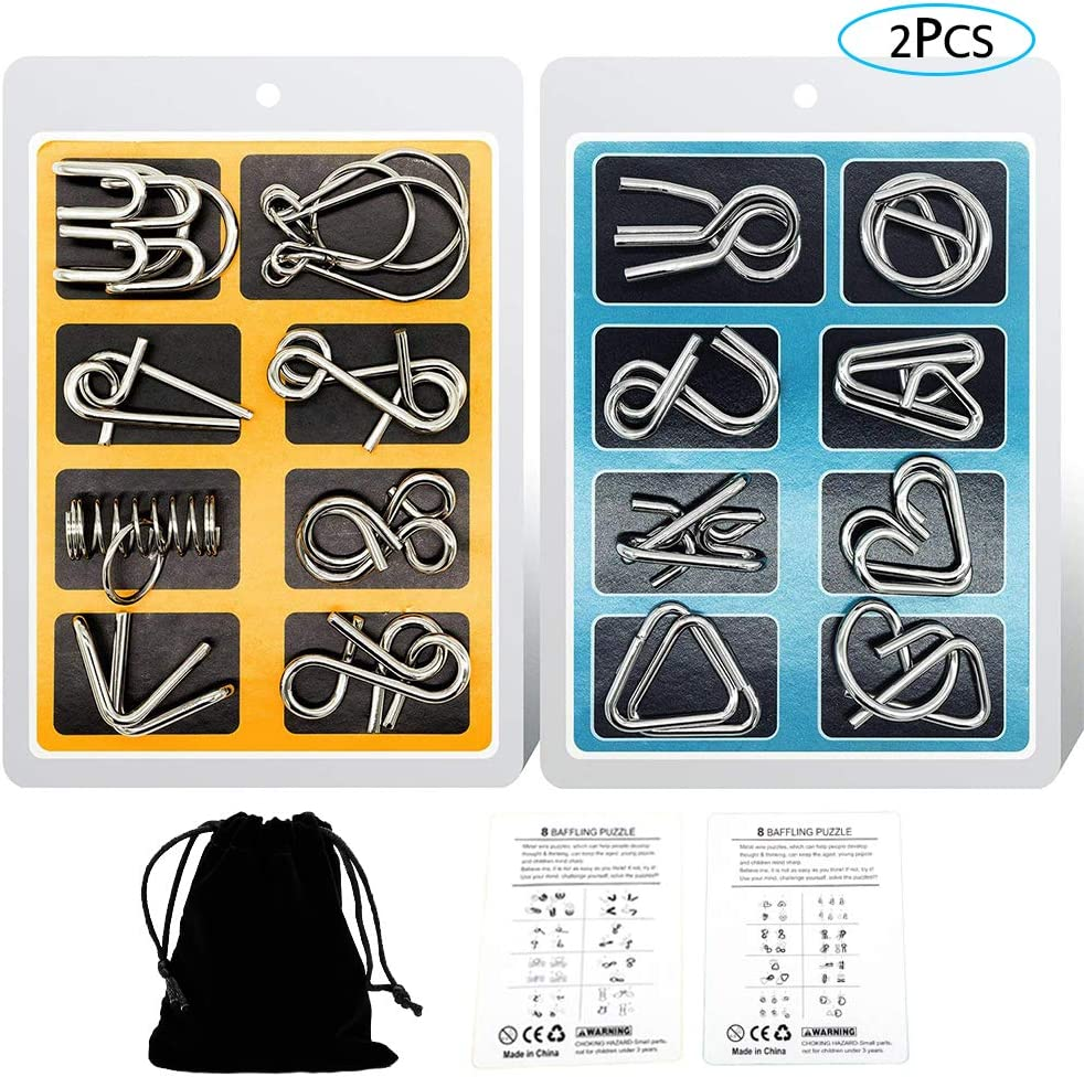 YGZN Metal Wire Puzzle Set de 16, Metal Puzzles Educativos Niños y Adolescentes Juguetes Educativos (Blue-Yellow)