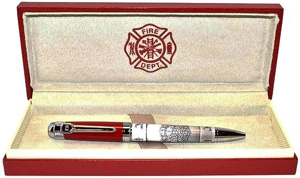 Fire Dept Firefighter Heavy Weight Metal Ball Point Pen Set Red Box Fireman Gift