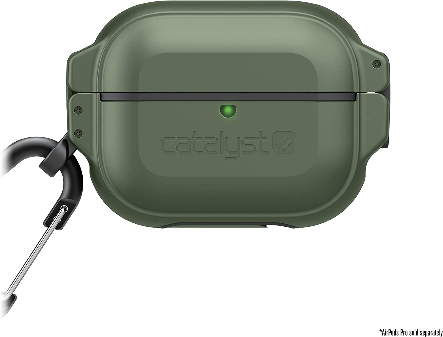 330ft Waterproof Total Protection Case for AirPods Pro, Secure Locking System, Full-Body Protective Rugged case for AirPods Pro, Shockproof, Carabiner by Catalyst - Army Green