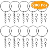 Paxcoo 100Pcs Keychain Rings with Chain and 100 Pcs Screw Eye Pins Bulk for Crafts