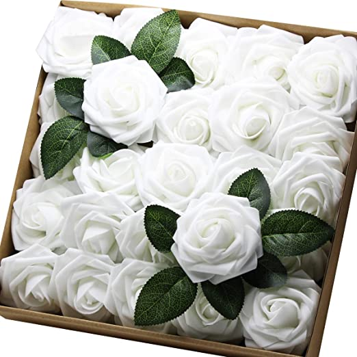 Amazon Com Artificial Flowers Real Touch Fake Latex Rose Flowers Home Decorations Diy For Bridal Wedding Bouquet Birthday Party Garden Floral Decor 25 Pcs Home Kitchen