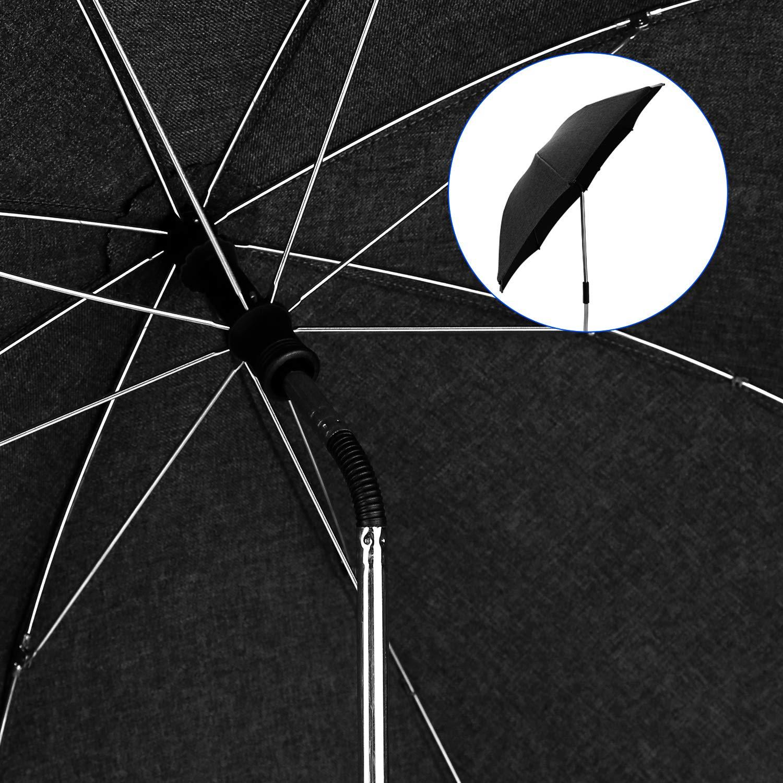 UV-Sonnenschutz mit Einem Regenschirmgriff Baby Kinderwagen Regenschirm 73cm Durchmesser Universal Sonnenschirm Buggy Kinderwagen 50 Grau