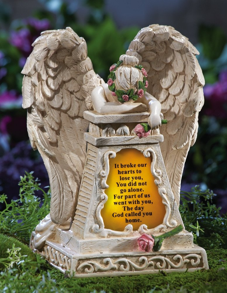 Amazoncom Solar Lighted Weeping Angel Garden Memorial Garden