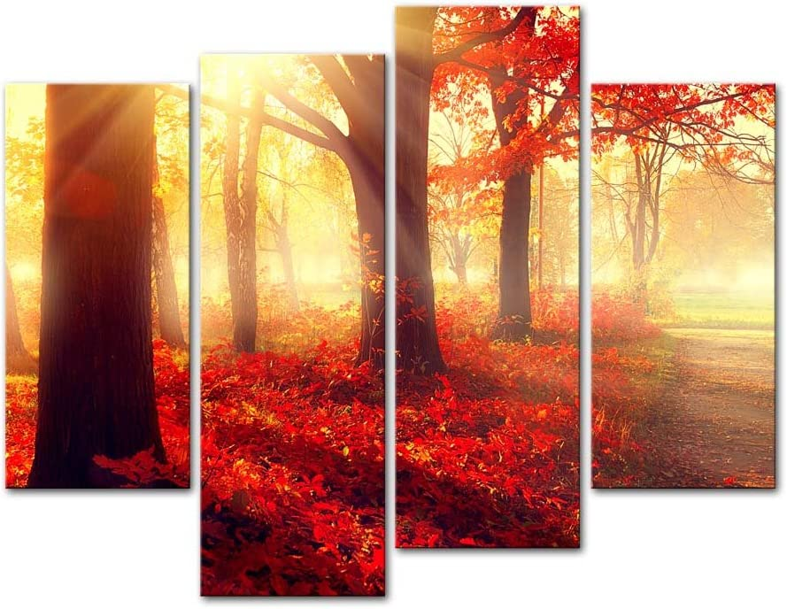 Amazon Com Wall Art Decor Poster Painting On Canvas Print Pictures 4 Pieces Autumn Fall Scene Beautiful Maple Trees Red Leaves Foggy Forest Sunny Rays Landscape Forest Framed Picture For Home Decoration Artwork