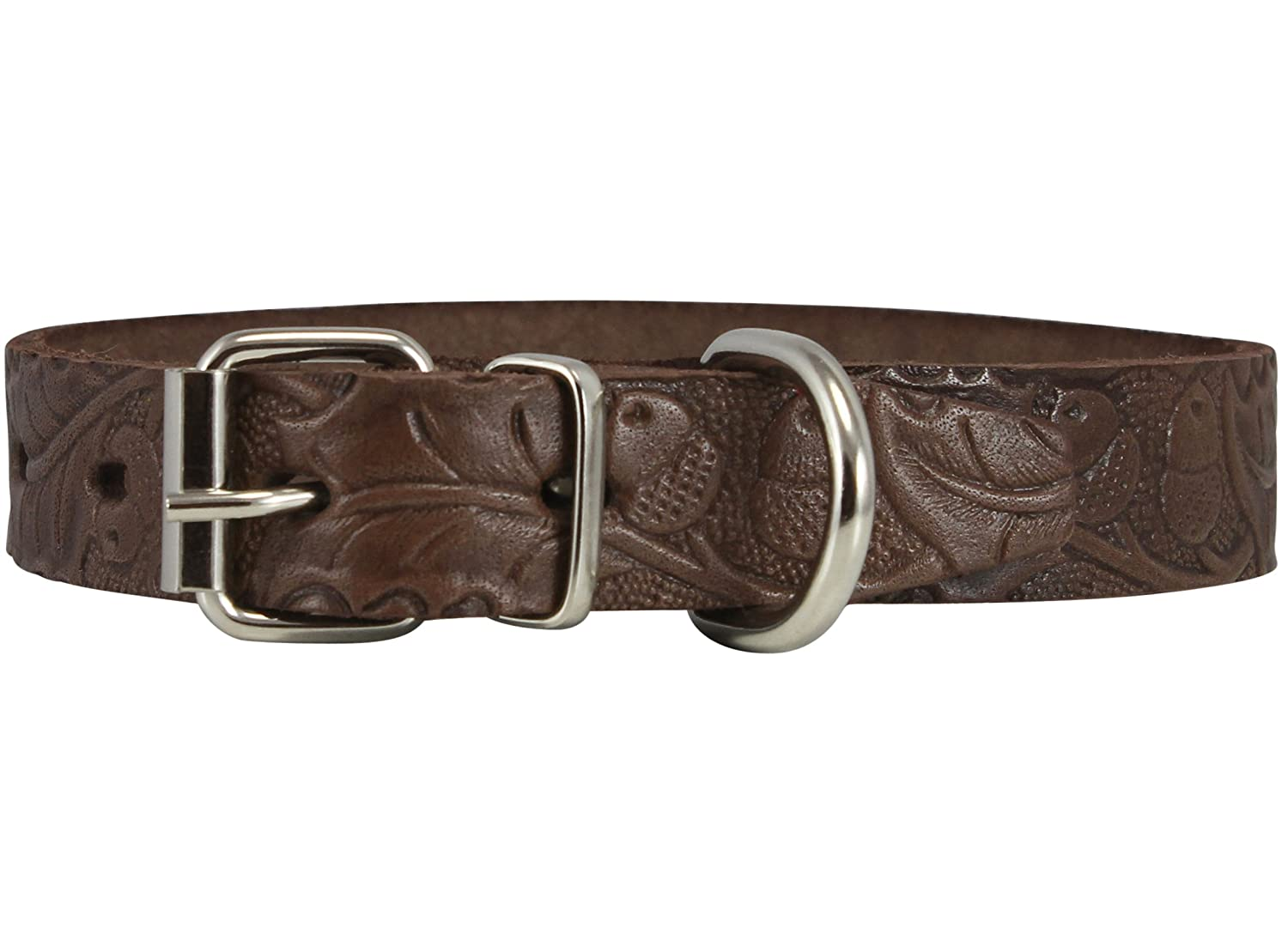 Neck Circumf  10\ Genuine Tooled Leather Dog Collar Floral Pattern Brown 3 Sizes (Neck Circumf  10 -13 ; 3 4  Wide)