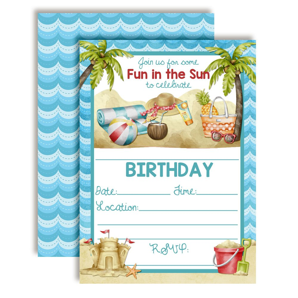 Beach Time Fun in The Sun Watercolor Birthday Party Invitations, 20 5''x7'' Fill in Cards with Twenty White Envelopes by AmandaCreation