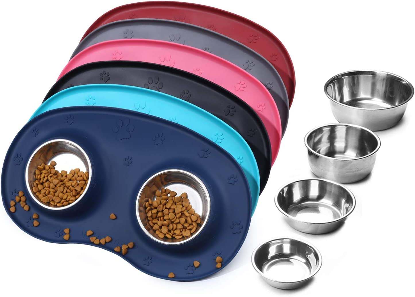 Vivaglory Dog Bowls Stainless Steel Cat Puppy Food and Water Bowls with Wider Non Skid & Non-Spill Silicone Mat, Navy Blue