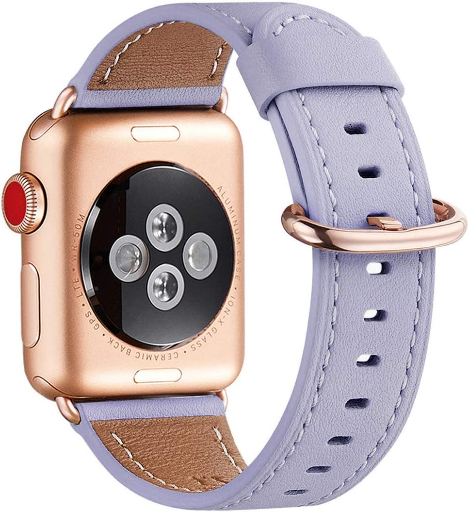 WFEAGL Compatible iWatch Band 40mm 38mm, Top Grain Leather Band with Gold Adapter (The Same as Series 5/4/3 with Gold Aluminum Case in Color)for iWatch SE & Series 6/5 /4/3/2/1 (Lilac Band+Rose Gold Adapter)