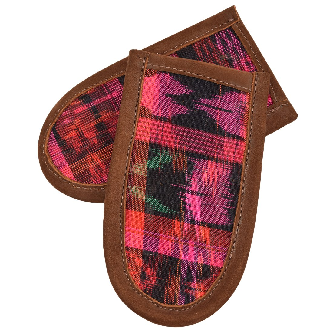 Cast Iron Panhandle Potholder Suede Interior Cook /& Bake 2-Pack Handmade Tropical Fuchsia Hide /& Drink Leather /& Tipico Cotton Hot Handle Holder