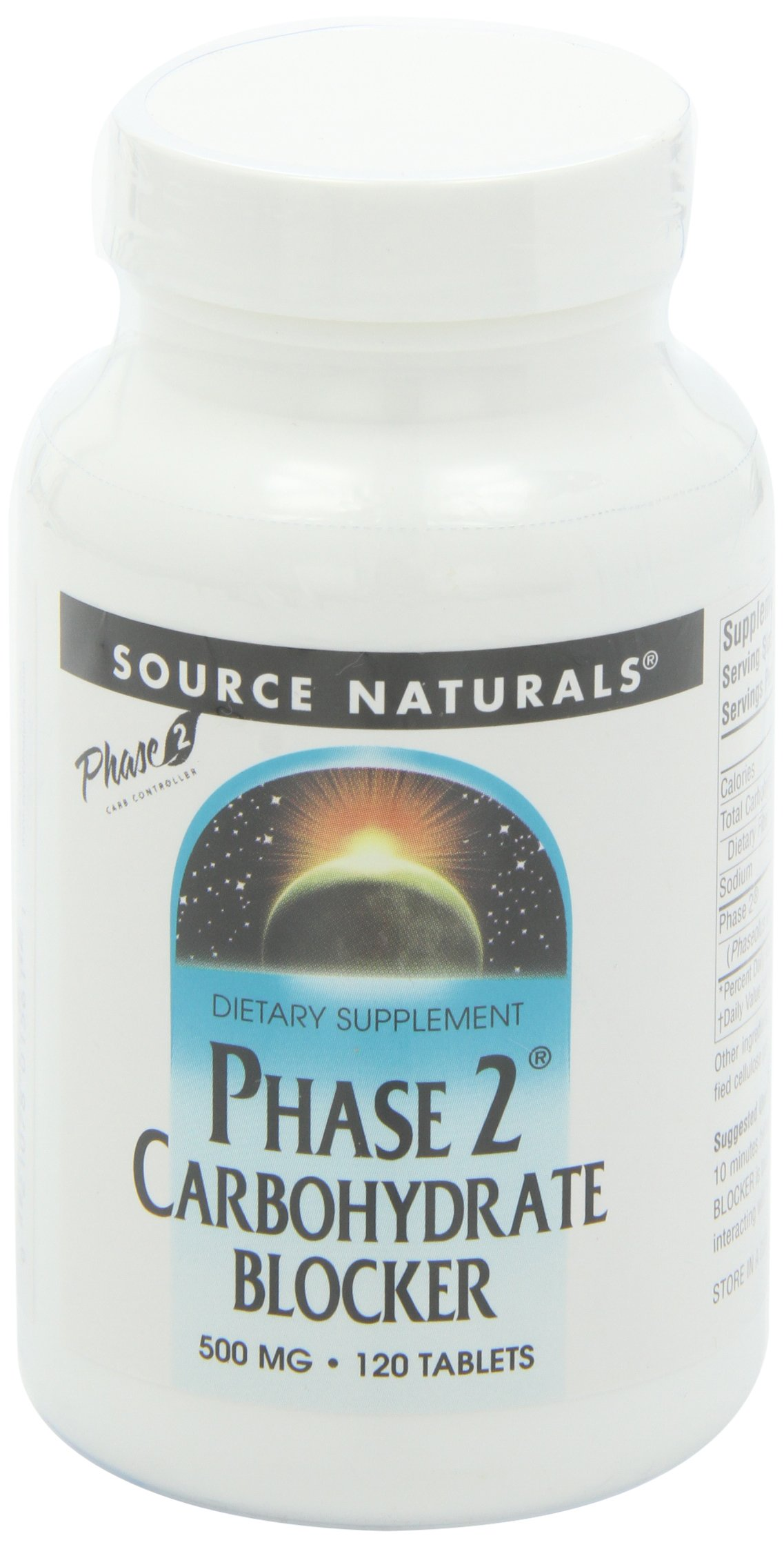 SOURCE NATURALS Phase 2 Carbohydrate Blocker 500 Mg Tablet, 120 Count by Source Naturals