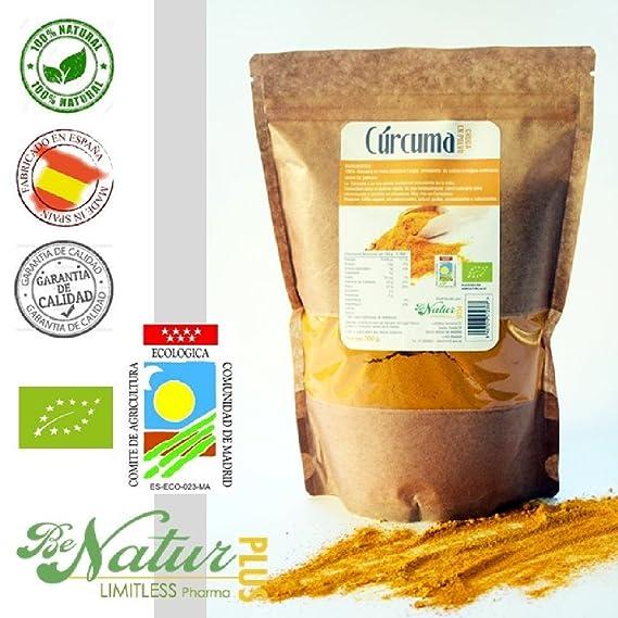 Cúrcuma Cruda en polvo BeNatur Plus - 100% Cúrcuma Longa en polvo de Pureza Garantizada Libre de Pesticidas y de cualquier tipo de productos Químicos 500 g: ...