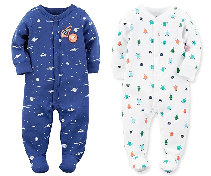 5f2991f38d41 Carters Set of 2 Baby Boys Cotton Footed Zip-Up Sleeper Sleep and ...