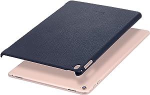 """StilGut Cover, Genuine Leather Back Case for Apple 9.7"""" iPad Pro & Smart Keyboard, Navy Blue"""