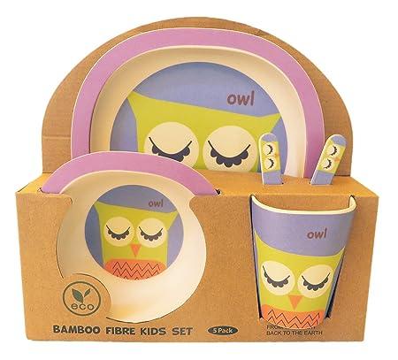Vajilla de bambú bebé e Infantil, Material ecológico sin BPA. Varios Colores y Animales, Apto para lavavajillas (Búho)