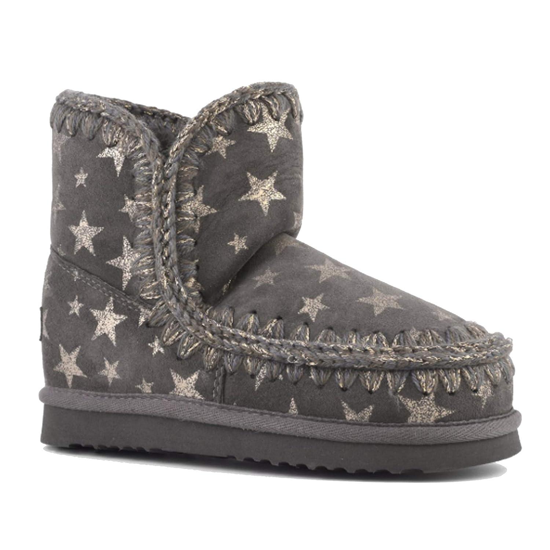 9fabe19cbe2 Mou Women's Eskimo 18cm Boots, Gold Stars on Charcoal (GLDSTSCHC ...