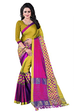 c168be4f6d0 Amazon.com: Mohit Creations Designer Multi Colored Printed Cotton Silk  Saree for Womens with Unstitched Blouse: Clothing