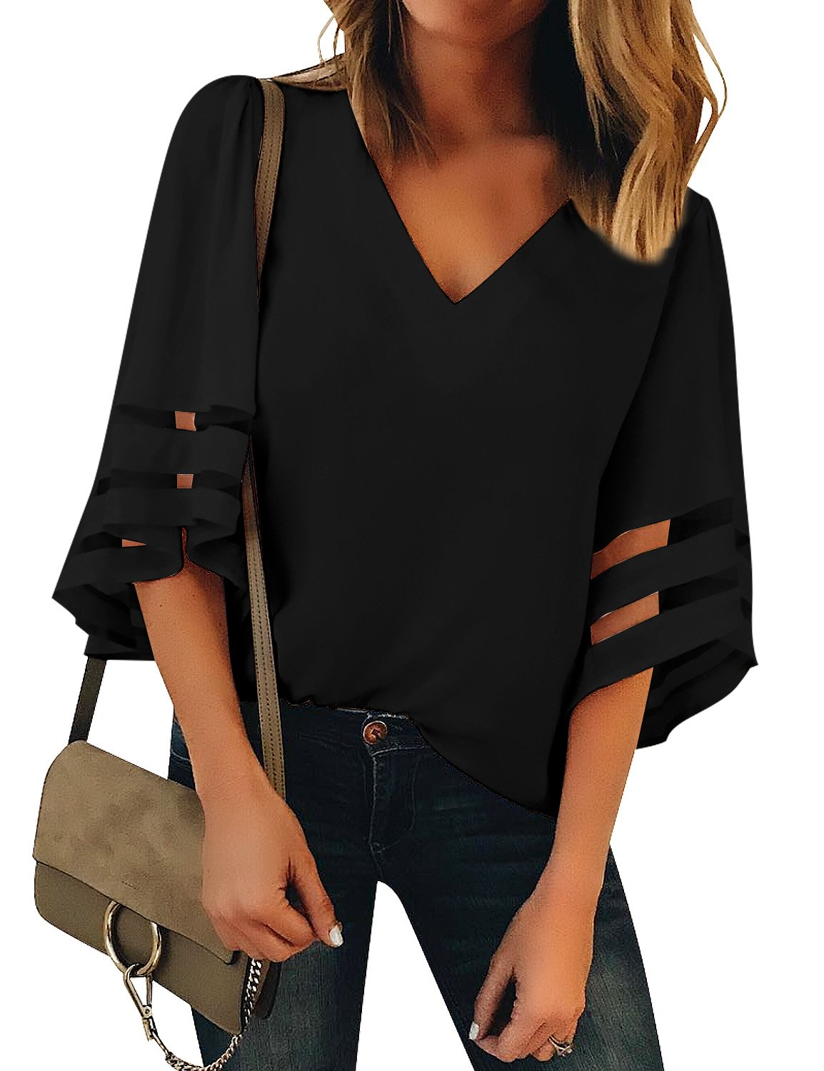 LookbookStore Women's Black V Neck Casual Mesh Panel Blouse 3/4 Bell Sleeve Solid Color Loose Top Shirt Size L(US 12-14) by LookbookStore