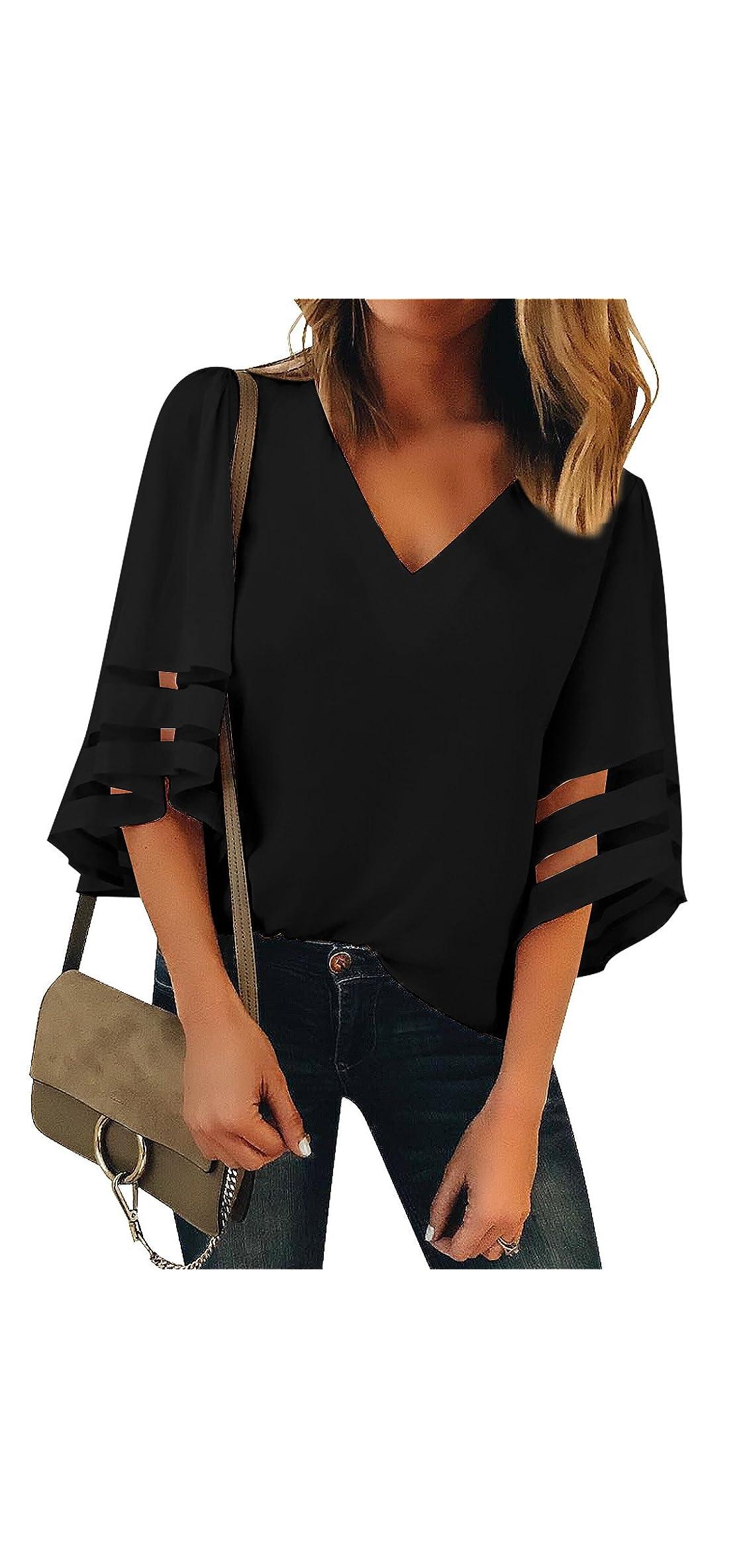 Women's V Neck Mesh Panel Blouse / Bell Sleeve