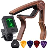 Guitar Tuner Clip-On Tuner with Guitar Capo Rosewood Color Capo for Acoustic Electric Guitar Bass Violin Ukulele