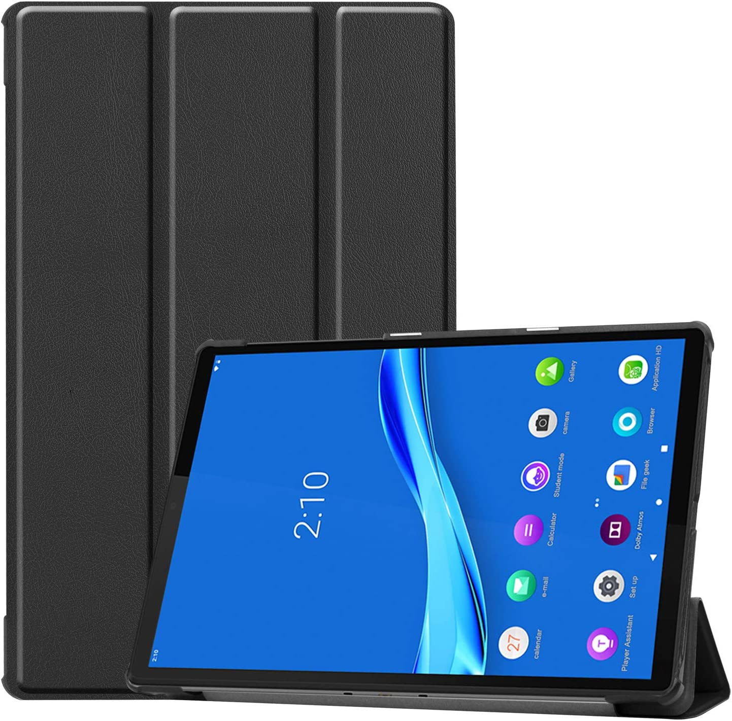 PULEN for Lenovo Tab M10 Plus Case 10.3 Inch,PU Leather Smart Case with Stand [Anti Slip][Shock-Absorption] Lightweight Protective Cover for Lenovo Smart Tab M10 Plus 2020 (Black)
