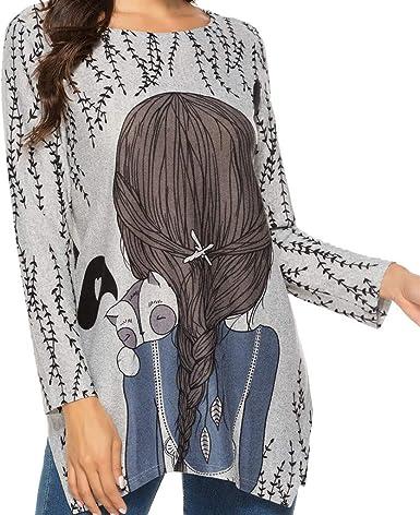 Camisa Larga Mujer Tops Deportivos Fiesta Sexy Moda Casual Dibujos Animados ImpresióN O-Cuello Vendaje Blusa Camiseta Tops: Amazon.es: Ropa y accesorios