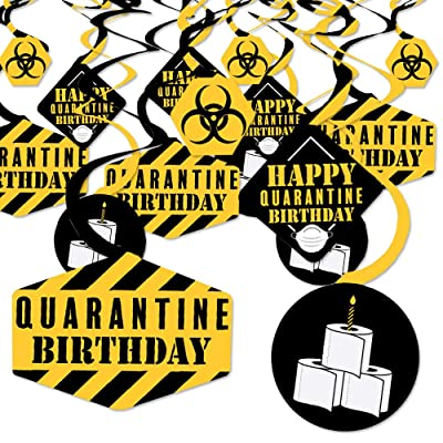 Big Dot of Happiness Happy Quarantine Birthday - Social Distancing Party Hanging Decor - Party Decoration Swirls - Set of 40: Toys & Games