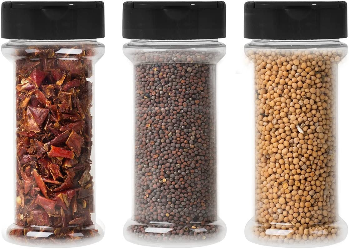 12-Pack Clear Plastic Spice Jars Storage Container Bottle-7 Oz -Flapper Cap to Pour or Shaker/Sifter- Pressure Sensitive Liner to store Spice,Herbs-BPA free (12, black caps)