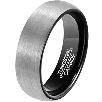 mnh mens 6mm comfort fit tungsten carbide wedding band black brushed matte finish rings size 5 - Tungsten Carbide Wedding Rings