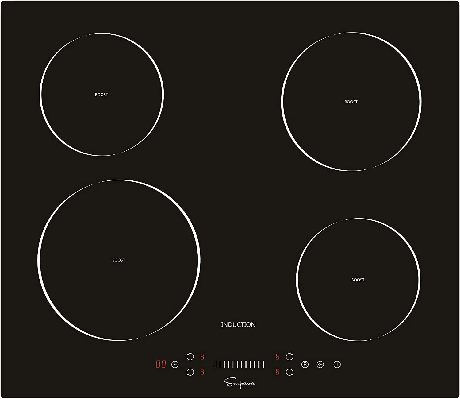 Empava 24 Inch Electric Induction Cooktop Smooth Surface with 4 Burners 240V, 24 Inch, Black
