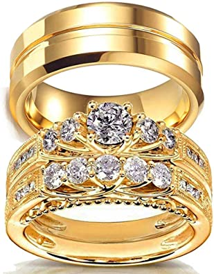 AONEW Yellow Gold Plated Couple Rings Square Cz Stones Womens Wedding Ring Sets /& Stainless Steel Celtic Dragon Pattern Mens Wedding Band【Buy Two Rings for One Pair】