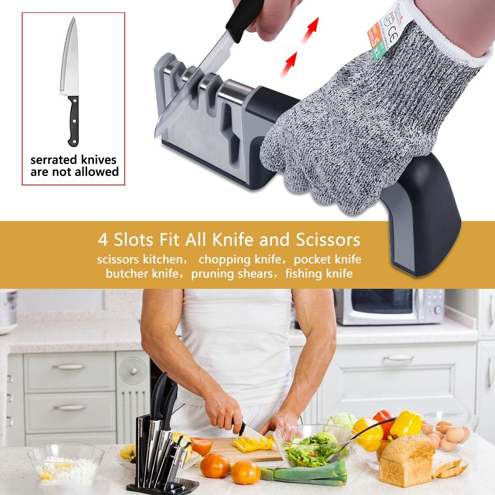 3 Stage Fast Knife Sharpener Best Kitchen Knife Sharpening Kit System Professional Manual Scissor Sharpeners 4 In 1 Set Stainless Steel Tool + Free A Resistance Glove ,3 Steps Sharpening Process By Diamond,Ceramic Stone,Tungsten ESDAMIER