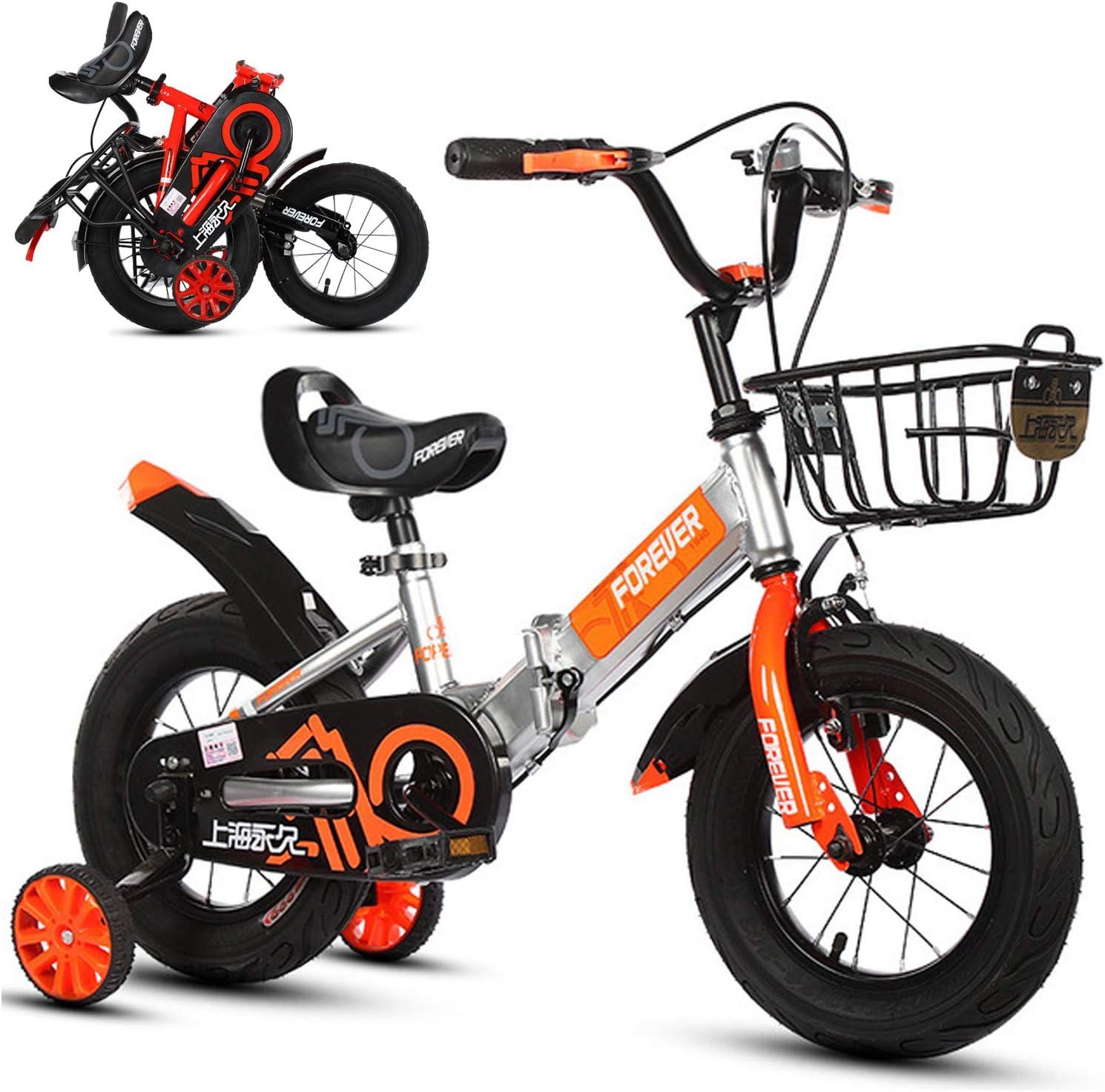 Bospyaf Infantil Bicicleta Plegable, niños y niñas Bicicleta, absorción de Impactos y Antideslizante, 12 Pulgadas / 14 Pulgadas / 16 Pulgadas / 18 Pulgadas / 20 Pulgadas Bicicleta Plegable,Plata,16