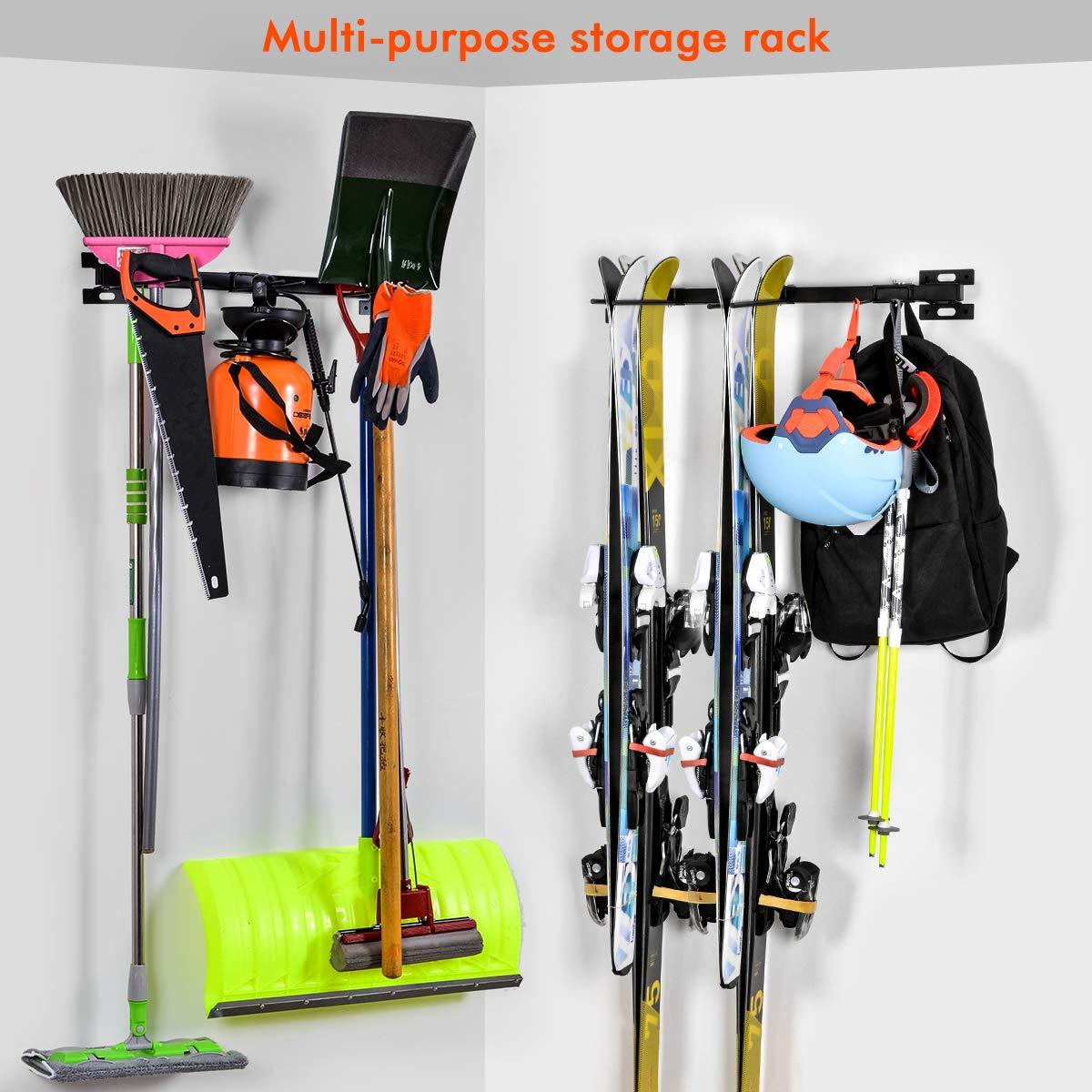 ElevenII Ski Wandhalterung Snowboardständer Für die Lagerung von bis zu 10 Paar Skiern Lagergestell für Haus oder Garage, Farbe: Schwarz