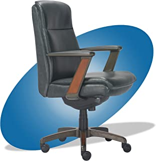 product image for La-Z-Boy Dawson Modern Executive Office, Adjustable High Back Ergonomic Computer Chair with Lumbar Support, Black Bonded Leather with Wood Inlay