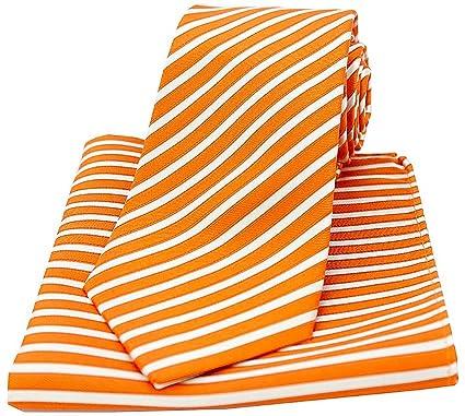 Soprano naranja y blanco rayas seda corbata y pañuelo Set: Amazon ...