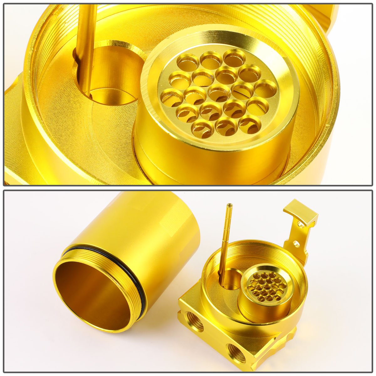 Silver Universal Aluminum Dual Chamber Filter Reservoir Breather Baffled Oil Catch Tank